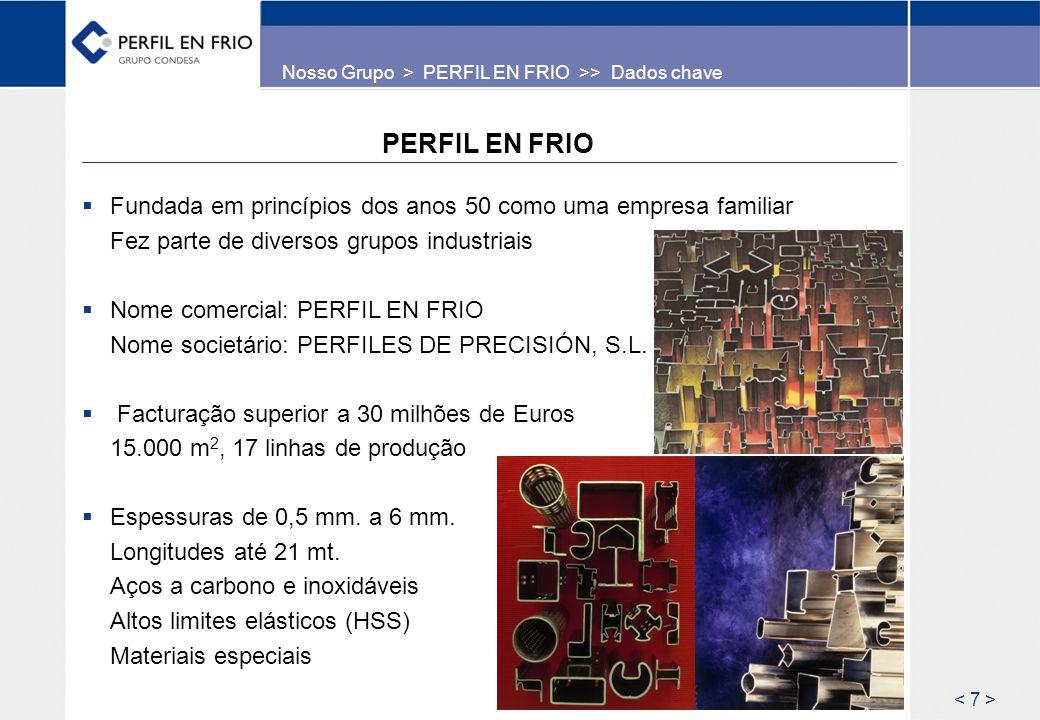 PERFIL EN FRIO Fundada em princípios dos anos 50 como uma empresa familiar Fez parte de diversos grupos industriais Nome comercial: PERFIL EN FRIO Nom