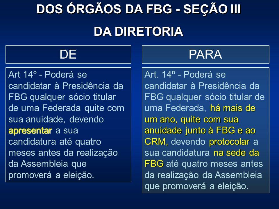 PARADE apresentar Art 14º - Poderá se candidatar à Presidência da FBG qualquer sócio titular de uma Federada quite com sua anuidade, devendo apresenta