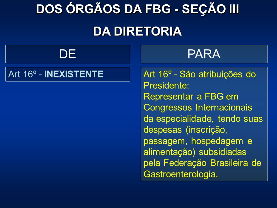 PARADE Art 16º - INEXISTENTEArt 16º - São atribuições do Presidente: Representar a FBG em Congressos Internacionais da especialidade, tendo suas despe
