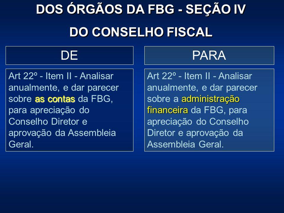PARADE as contas Art 22º - Item II - Analisar anualmente, e dar parecer sobre as contas da FBG, para apreciação do Conselho Diretor e aprovação da Ass