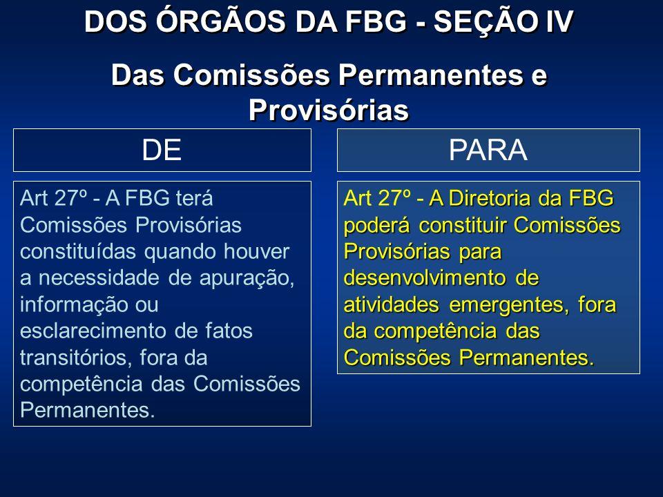 PARADE Art 27º - A FBG terá Comissões Provisórias constituídas quando houver a necessidade de apuração, informação ou esclarecimento de fatos transitó