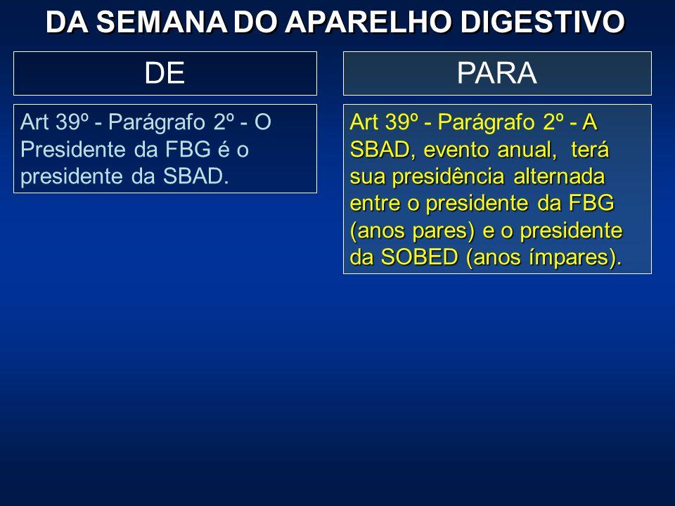 DA SEMANA DO APARELHO DIGESTIVO PARADE Art 39º - Parágrafo 2º - O Presidente da FBG é o presidente da SBAD. A SBAD, evento anual, terá sua presidência