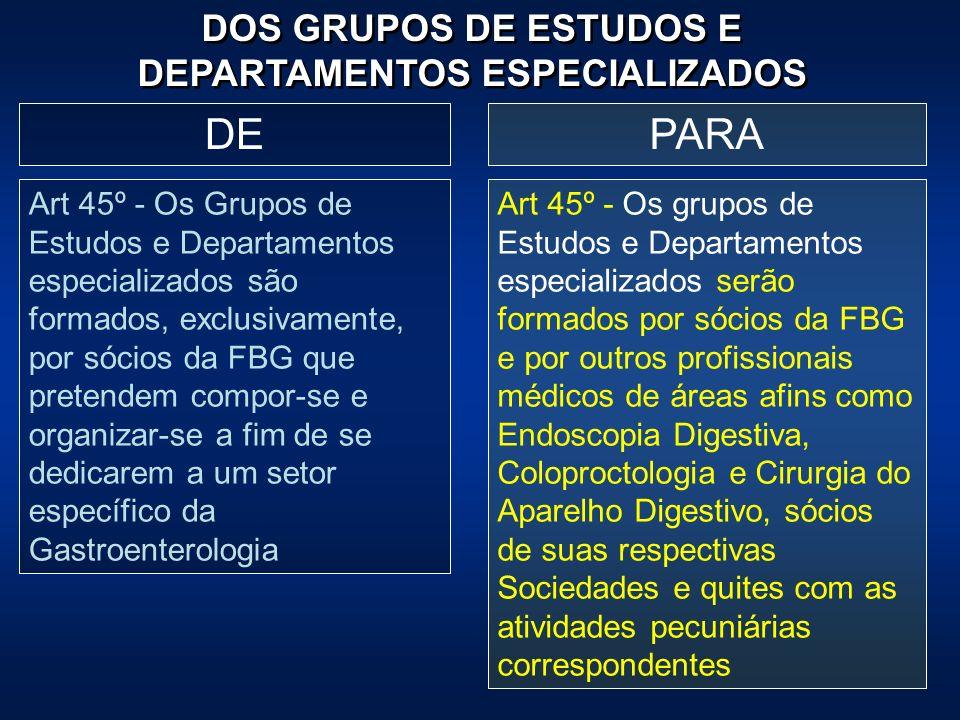 PARADE Art 45º - Os Grupos de Estudos e Departamentos especializados são formados, exclusivamente, por sócios da FBG que pretendem compor-se e organiz