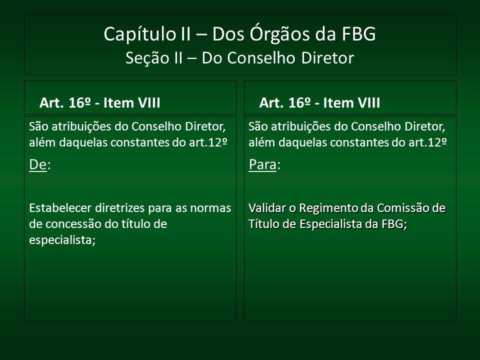 Capítulo II – Dos Órgãos da FBG Seção II – Do Conselho Diretor Art. 16º - Item VIII São atribuições do Conselho Diretor, além daquelas constantes do a