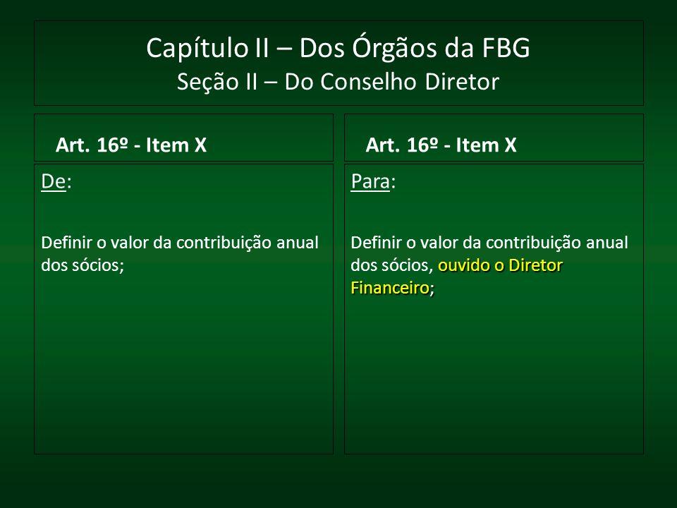 Capítulo II – Dos Órgãos da FBG Seção II – Do Conselho Diretor Art. 16º - Item X De: Definir o valor da contribuição anual dos sócios; Art. 16º - Item