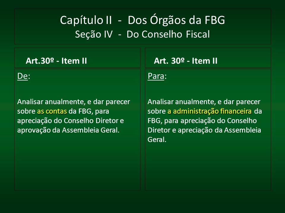 Capítulo II - Dos Órgãos da FBG Seção IV - Do Conselho Fiscal Art.30º - Item II De: as contas Analisar anualmente, e dar parecer sobre as contas da FB