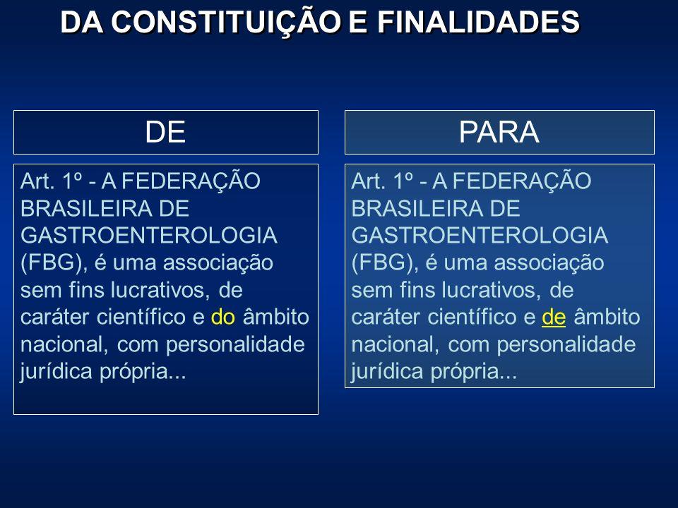 DA CONSTITUIÇÃO E FINALIDADES PARADE Art. 1º - A FEDERAÇÃO BRASILEIRA DE GASTROENTEROLOGIA (FBG), é uma associação sem fins lucrativos, de caráter cie