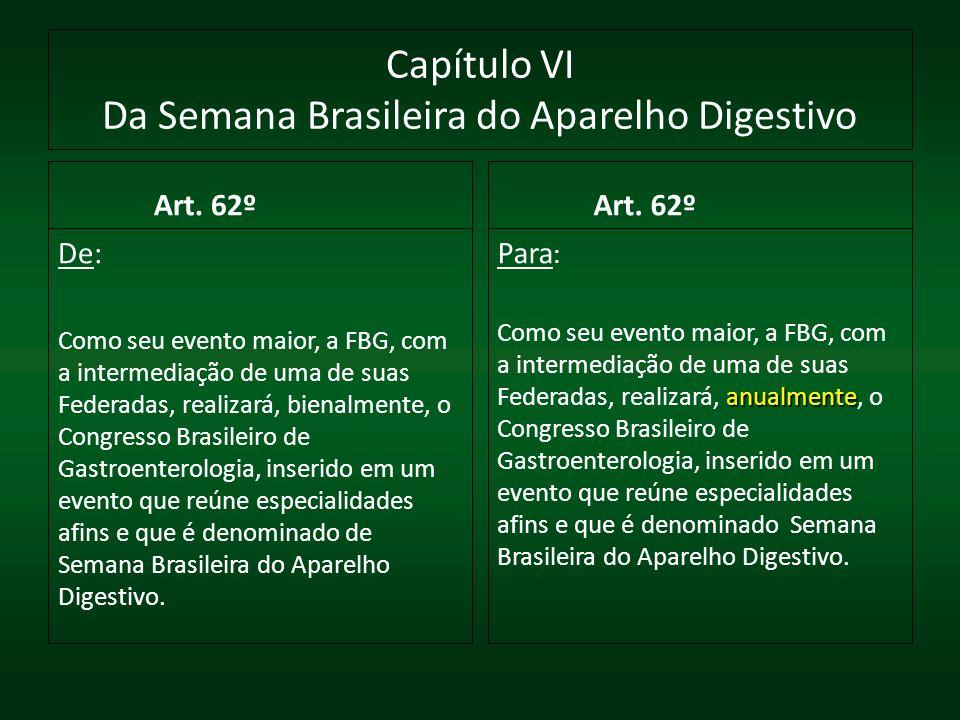 Capítulo VI Da Semana Brasileira do Aparelho Digestivo Art. 62º De: Como seu evento maior, a FBG, com a intermediação de uma de suas Federadas, realiz
