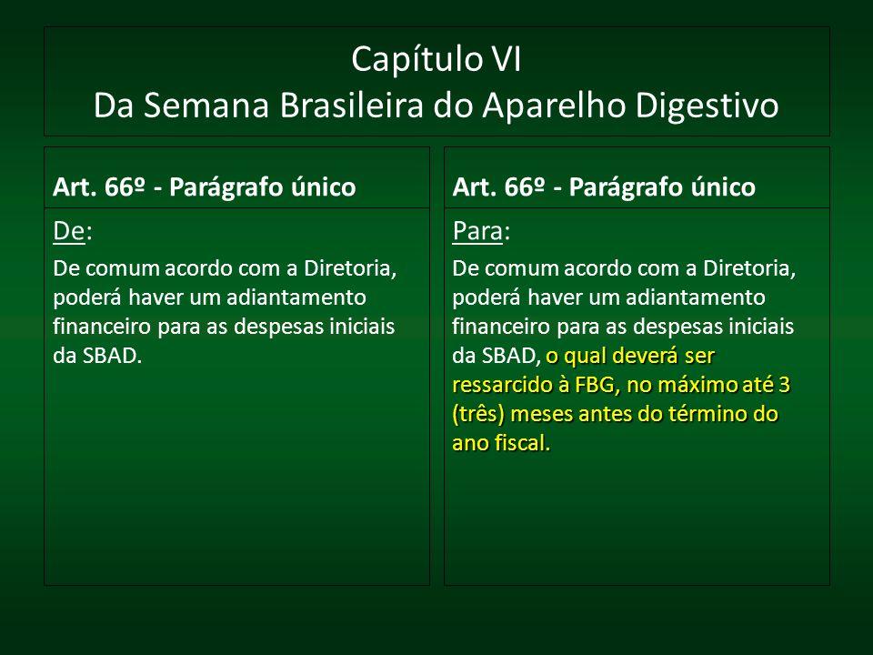 Capítulo VI Da Semana Brasileira do Aparelho Digestivo Art. 66º - Parágrafo único De: De comum acordo com a Diretoria, poderá haver um adiantamento fi