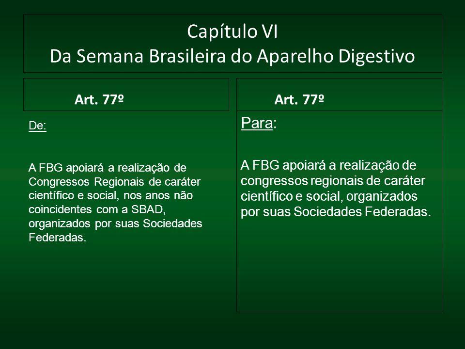 Capítulo VI Da Semana Brasileira do Aparelho Digestivo Art. 77º Para: A FBG apoiará a realização de congressos regionais de caráter científico e socia