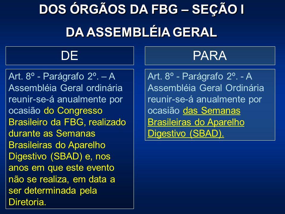 PARADE Art. 8º - Parágrafo 2º. – A Assembléia Geral ordinária reunir-se-á anualmente por ocasião do Congresso Brasileiro da FBG, realizado durante as