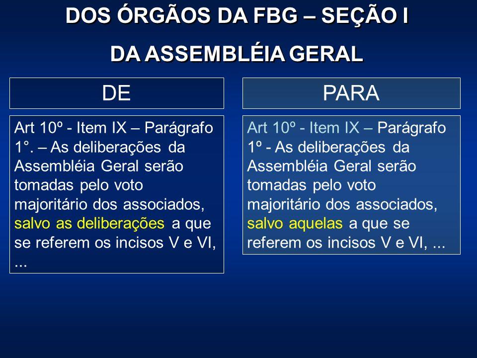 PARADE Art 10º - Item IX – Parágrafo 1°. – As deliberações da Assembléia Geral serão tomadas pelo voto majoritário dos associados, salvo as deliberaçõ