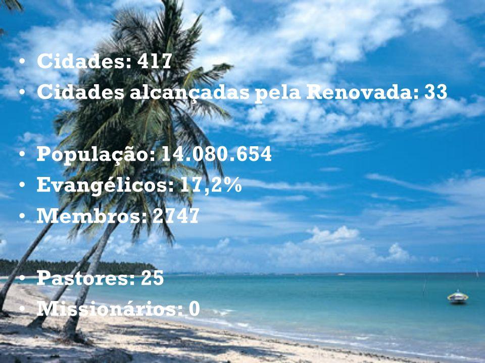 Cidades: 417 Cidades alcançadas pela Renovada: 33 População: 14.080.654 Evangélicos: 17,2% Membros: 2747 Pastores: 25 Missionários: 0