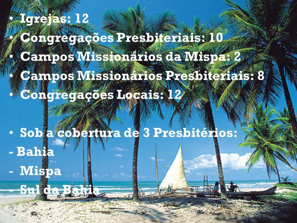 Igrejas: 12 Congregações Presbiteriais: 10 Campos Missionários da Mispa: 2 Campos Missionários Presbiteriais: 8 Congregações Locais: 12 Sob a cobertur