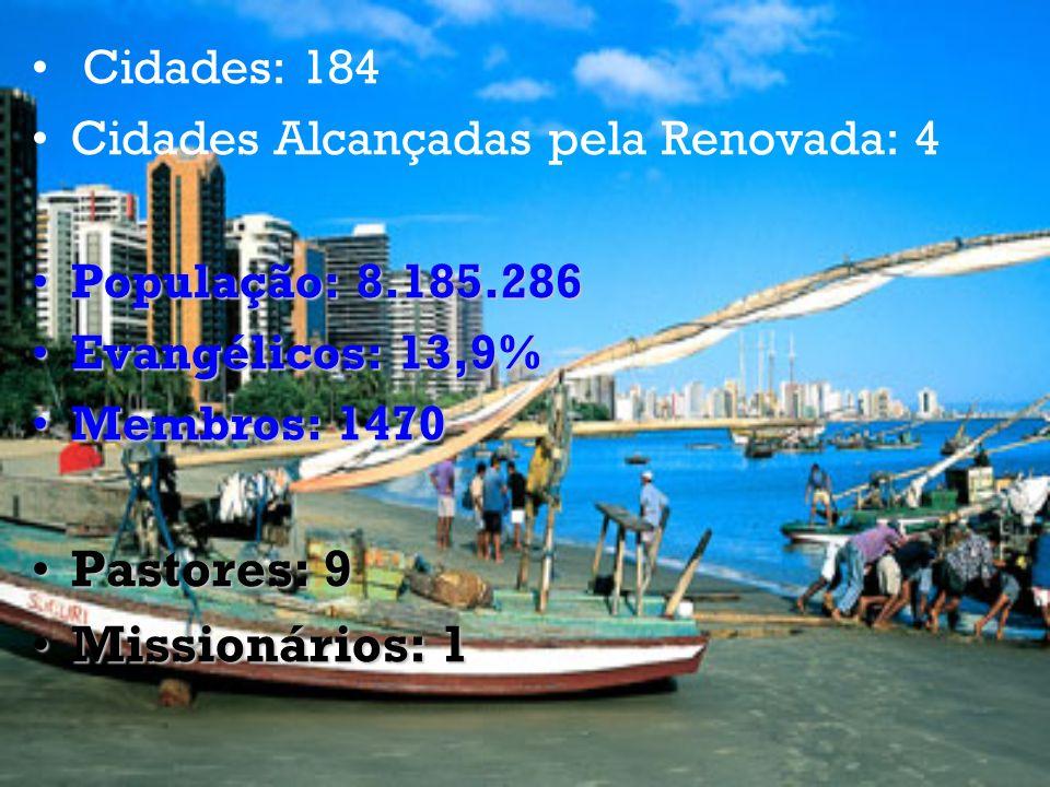 Cidades: 184 Cidades Alcançadas pela Renovada: 4 População: 8.185.286População: 8.185.286 Evangélicos: 13,9%Evangélicos: 13,9% Membros: 1470Membros: 1