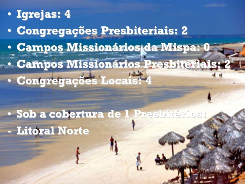 Igrejas: 4Igrejas: 4 Congregações Presbiteriais: 2Congregações Presbiteriais: 2 Campos Missionários da Mispa: 0Campos Missionários da Mispa: 0 Campos