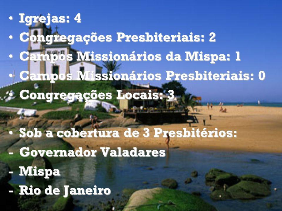 Igrejas: 4Igrejas: 4 Congregações Presbiteriais: 2Congregações Presbiteriais: 2 Campos Missionários da Mispa: 1Campos Missionários da Mispa: 1 Campos