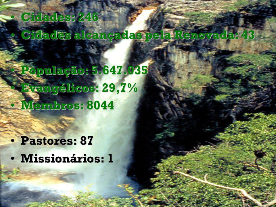 Cidades: 246Cidades: 246 Cidades alcançadas pela Renovada: 43Cidades alcançadas pela Renovada: 43 População: 5.647.035População: 5.647.035 Evangélicos