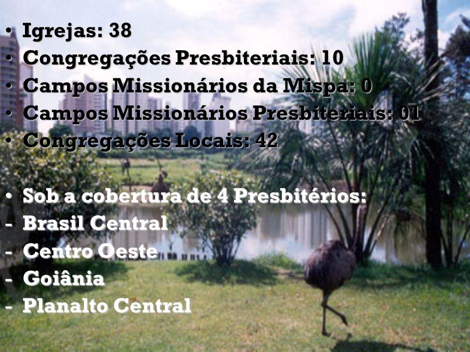 Igrejas: 38Igrejas: 38 Congregações Presbiteriais: 10Congregações Presbiteriais: 10 Campos Missionários da Mispa: 0Campos Missionários da Mispa: 0 Cam