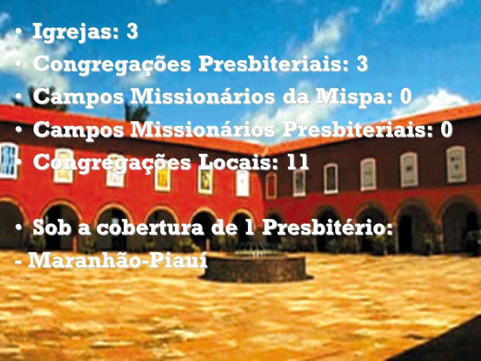 Igrejas: 3Igrejas: 3 Congregações Presbiteriais: 3Congregações Presbiteriais: 3 Campos Missionários da Mispa: 0Campos Missionários da Mispa: 0 Campos