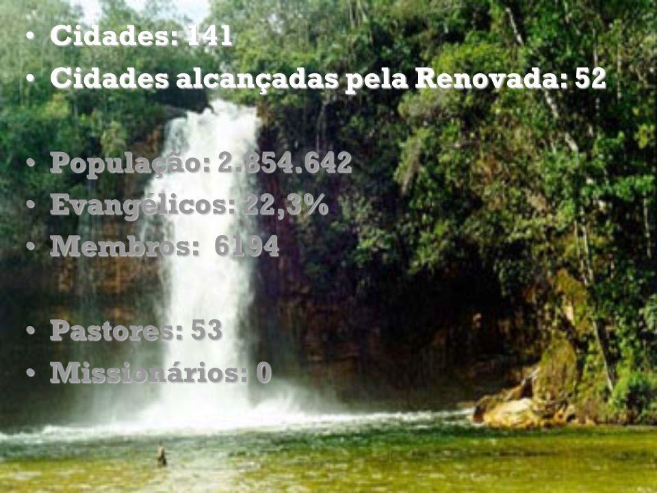 Cidades: 141Cidades: 141 Cidades alcançadas pela Renovada: 52Cidades alcançadas pela Renovada: 52 População: 2.854.642População: 2.854.642 Evangélicos