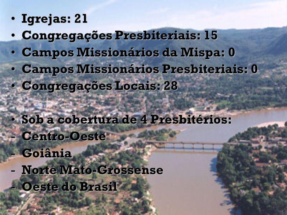 Igrejas: 21Igrejas: 21 Congregações Presbiteriais: 15Congregações Presbiteriais: 15 Campos Missionários da Mispa: 0Campos Missionários da Mispa: 0 Cam