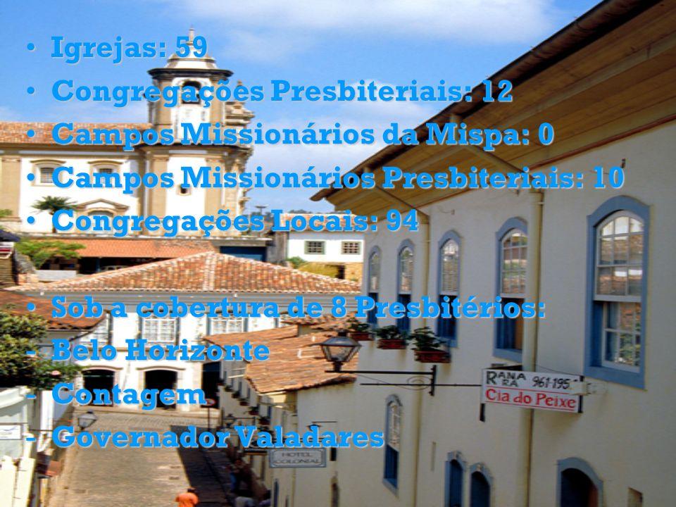Igrejas: 59Igrejas: 59 Congregações Presbiteriais: 12Congregações Presbiteriais: 12 Campos Missionários da Mispa: 0Campos Missionários da Mispa: 0 Cam
