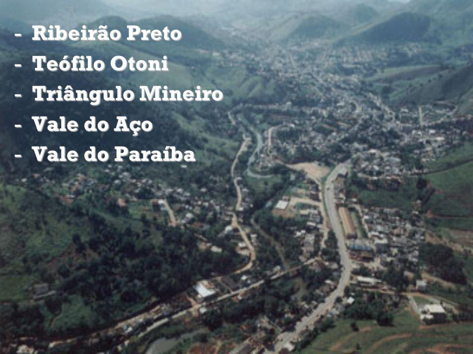 -Ribeirão Preto -Teófilo Otoni -Triângulo Mineiro -Vale do Aço -Vale do Paraíba