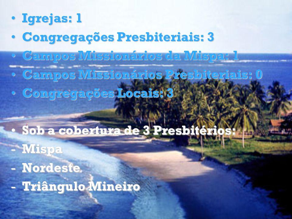 Igrejas: 1Igrejas: 1 Congregações Presbiteriais: 3Congregações Presbiteriais: 3 Campos Missionários da Mispa: 1Campos Missionários da Mispa: 1 Campos