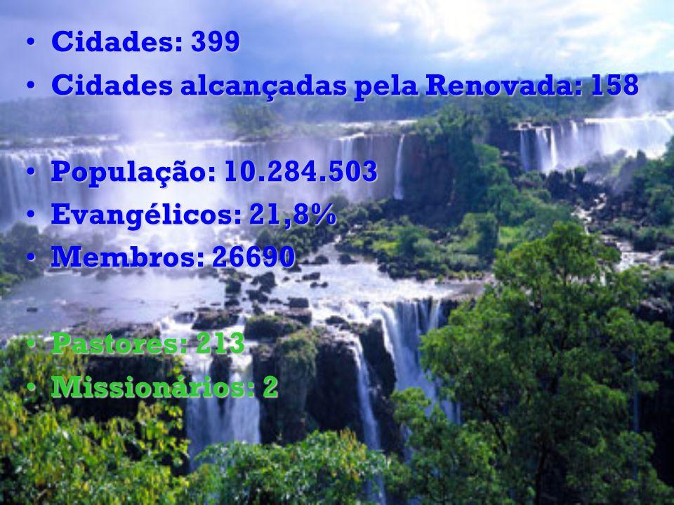 Cidades: 399Cidades: 399 Cidades alcançadas pela Renovada: 158Cidades alcançadas pela Renovada: 158 População: 10.284.503População: 10.284.503 Evangél