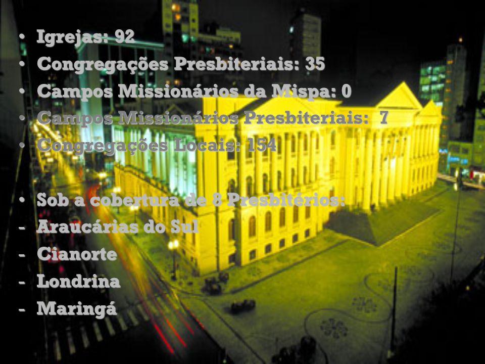 Igrejas: 92Igrejas: 92 Congregações Presbiteriais: 35Congregações Presbiteriais: 35 Campos Missionários da Mispa: 0Campos Missionários da Mispa: 0 Cam