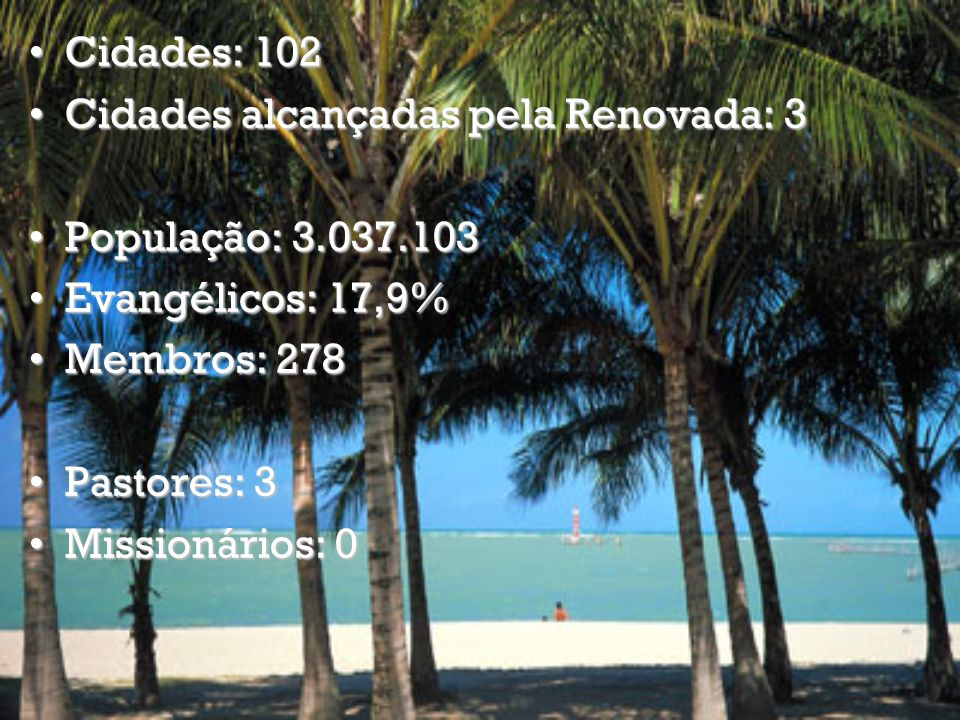 Cidades: 645 Cidades alcançadas pela Renovada: 155Cidades alcançadas pela Renovada: 155 População: 39.827.570 Evangélicos: 26,5% Membros: 24095 Pastores: 201 Missionários: 3