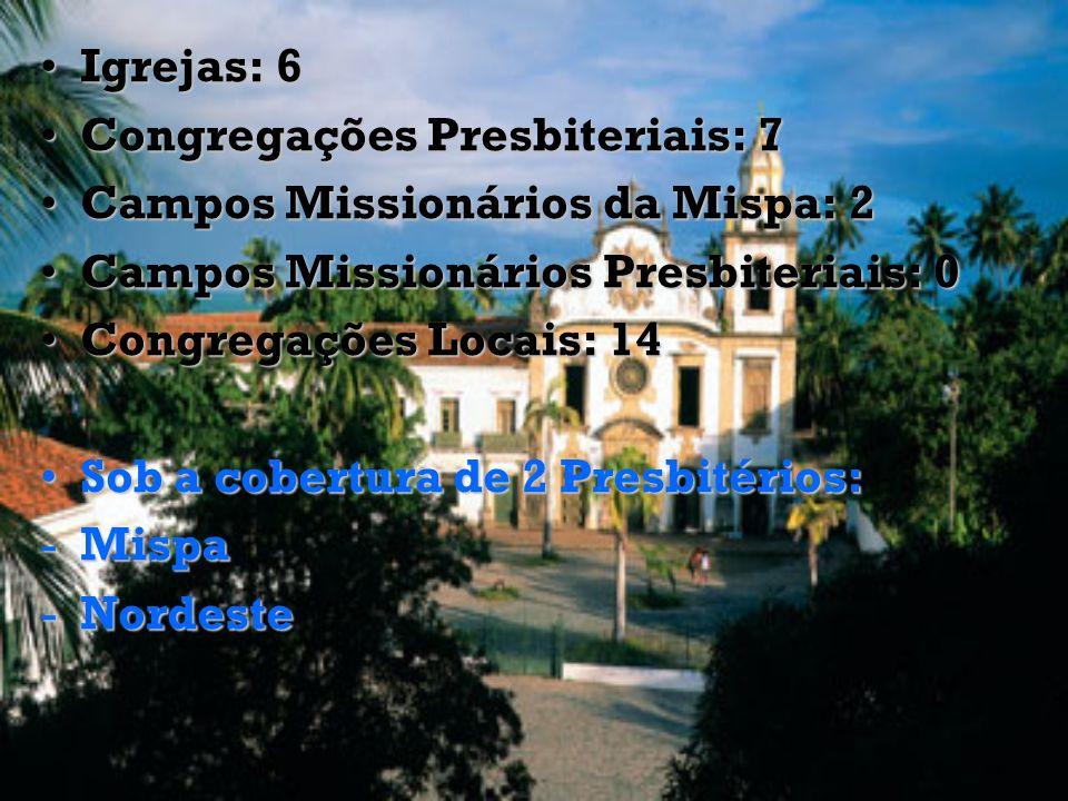 Igrejas: 6Igrejas: 6 Congregações Presbiteriais: 7Congregações Presbiteriais: 7 Campos Missionários da Mispa: 2Campos Missionários da Mispa: 2 Campos