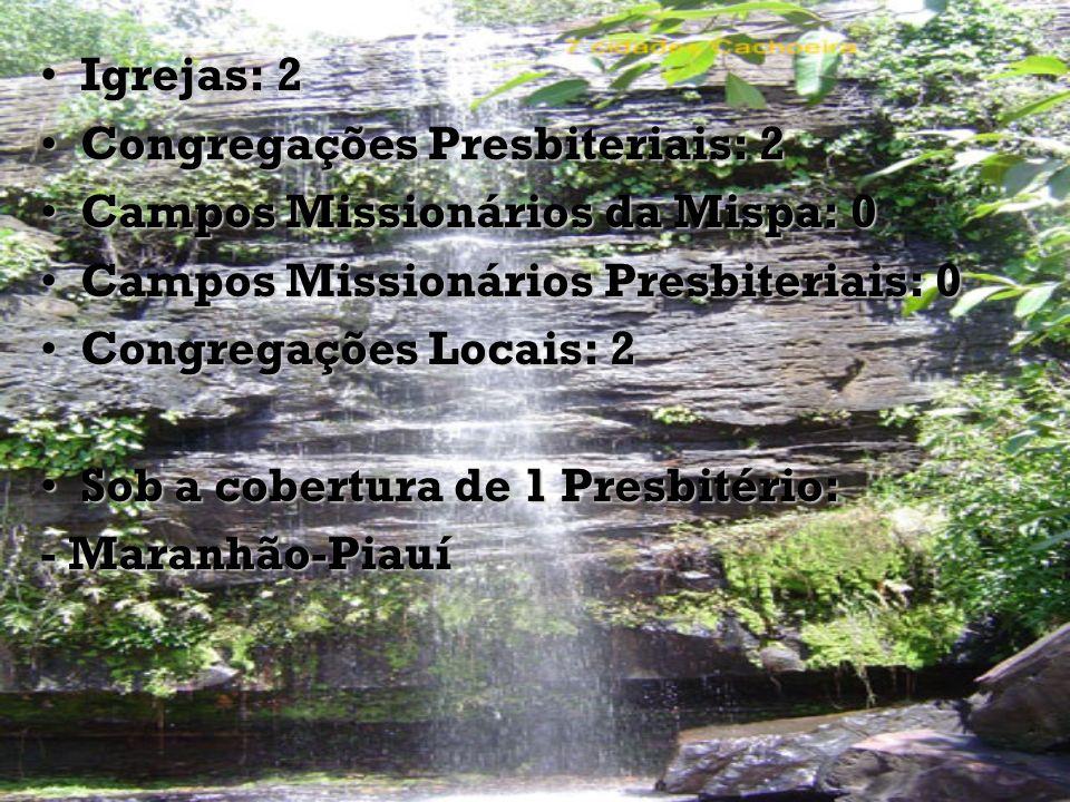 Igrejas: 2Igrejas: 2 Congregações Presbiteriais: 2Congregações Presbiteriais: 2 Campos Missionários da Mispa: 0Campos Missionários da Mispa: 0 Campos