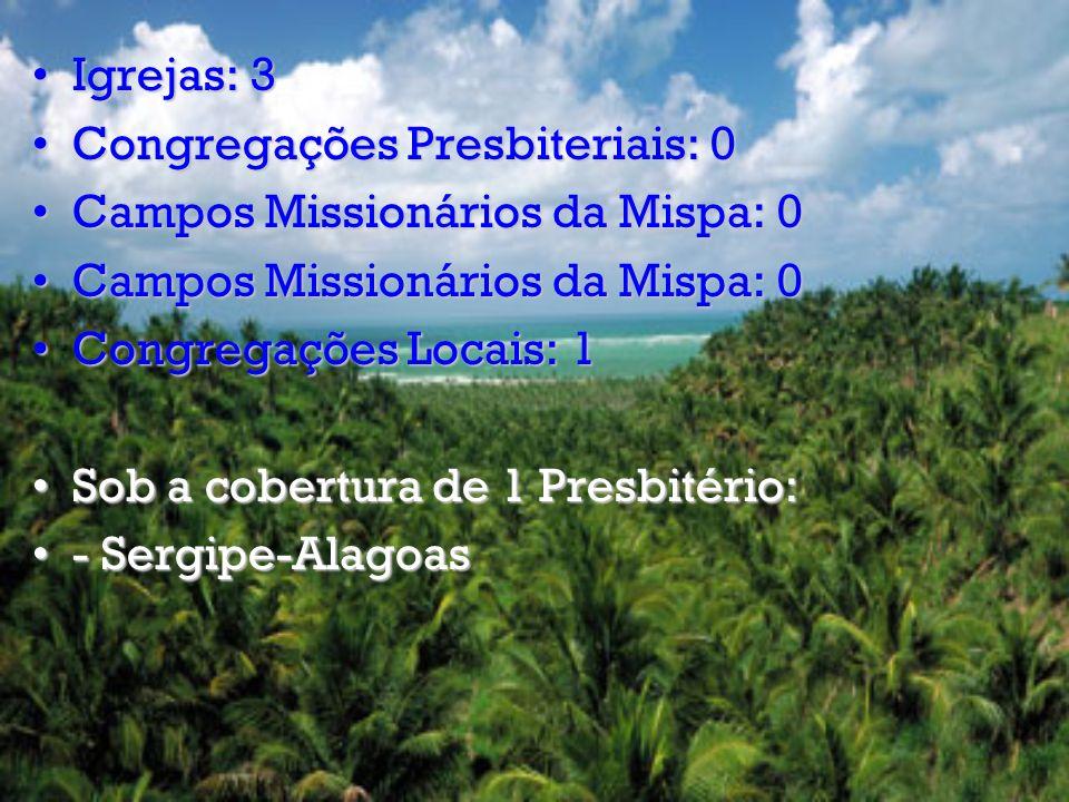 Igrejas: 38Igrejas: 38 Congregações Presbiteriais: 10Congregações Presbiteriais: 10 Campos Missionários da Mispa: 0Campos Missionários da Mispa: 0 Campos Missionários Presbiteriais: 01Campos Missionários Presbiteriais: 01 Congregações Locais: 42Congregações Locais: 42 Sob a cobertura de 4 Presbitérios:Sob a cobertura de 4 Presbitérios: -Brasil Central -Centro Oeste -Goiânia -Planalto Central