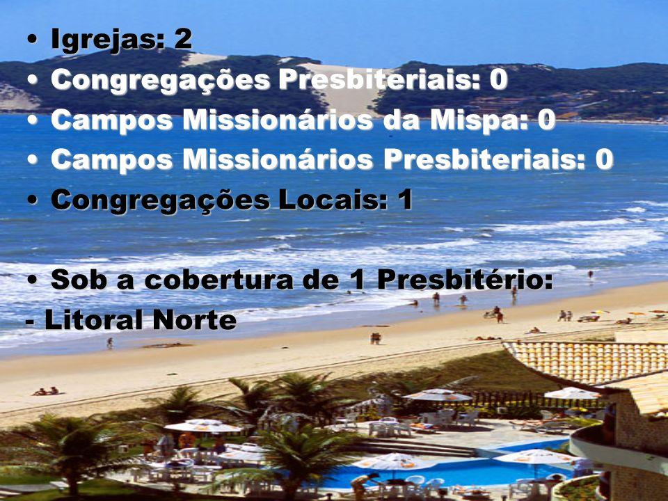 Igrejas: 2Igrejas: 2 Congregações Presbiteriais: 0Congregações Presbiteriais: 0 Campos Missionários da Mispa: 0Campos Missionários da Mispa: 0 Campos