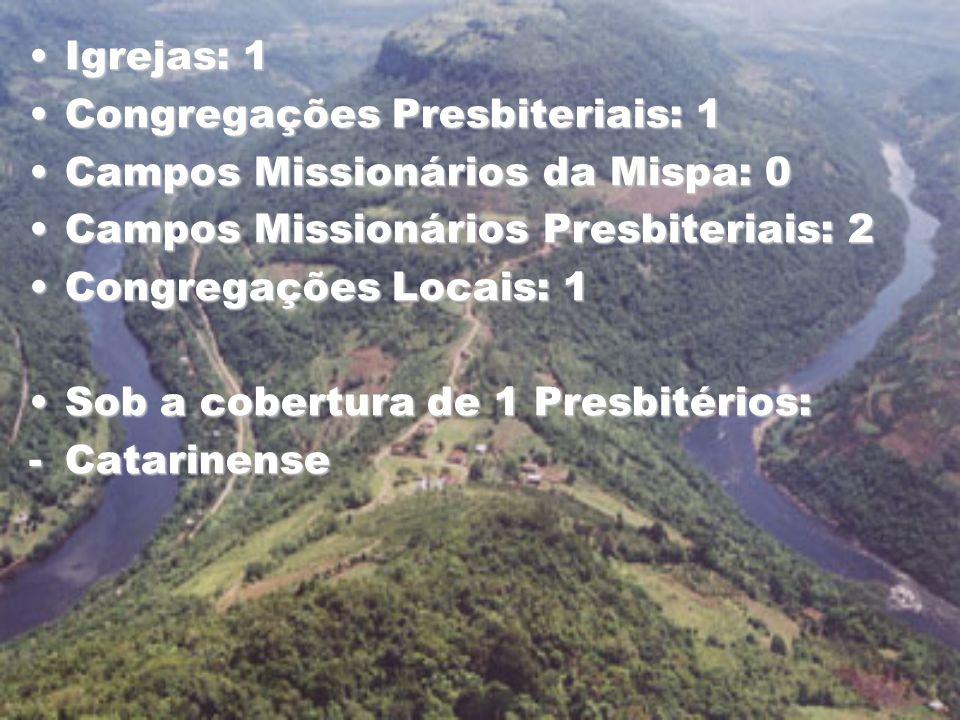 Igrejas: 1Igrejas: 1 Congregações Presbiteriais: 1Congregações Presbiteriais: 1 Campos Missionários da Mispa: 0Campos Missionários da Mispa: 0 Campos