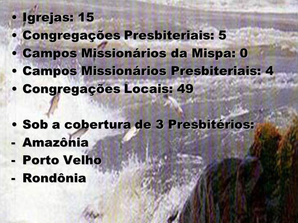 Igrejas: 15Igrejas: 15 Congregações Presbiteriais: 5Congregações Presbiteriais: 5 Campos Missionários da Mispa: 0Campos Missionários da Mispa: 0 Campo