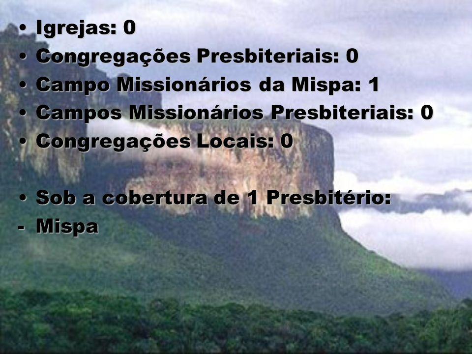 Igrejas: 0Igrejas: 0 Congregações Presbiteriais: 0Congregações Presbiteriais: 0 Campo Missionários da Mispa: 1Campo Missionários da Mispa: 1 Campos Mi