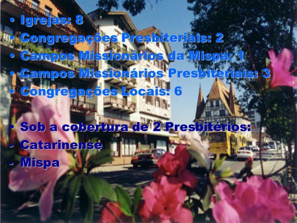 Igrejas: 8Igrejas: 8 Congregações Presbiteriais: 2Congregações Presbiteriais: 2 Campos Missionários da Mispa: 1Campos Missionários da Mispa: 1 Campos