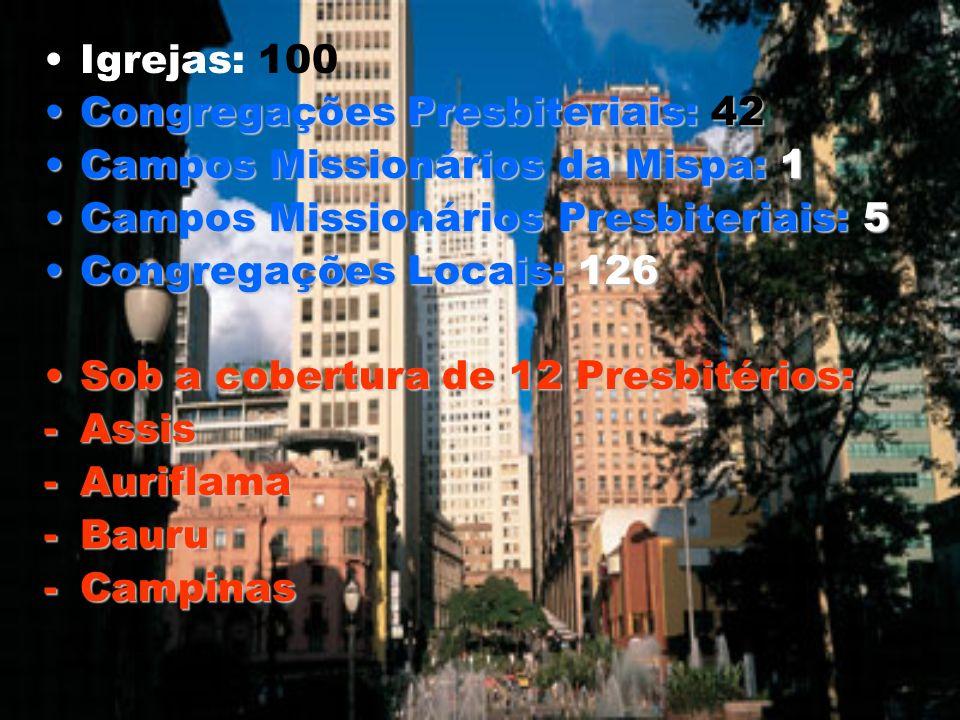 Igrejas: 100 Congregações Presbiteriais: 42Congregações Presbiteriais: 42 Campos Missionários da Mispa: 1Campos Missionários da Mispa: 1 Campos Missio