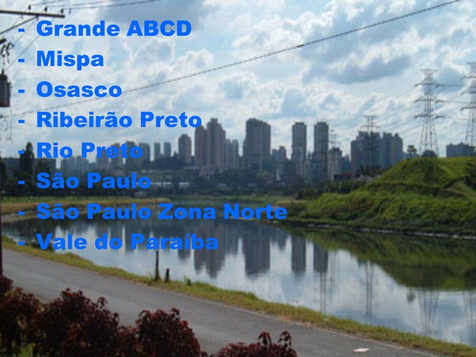 -Grande ABCD -Mispa -Osasco -Ribeirão Preto -Rio Preto -São Paulo -São Paulo Zona Norte -Vale do Paraíba