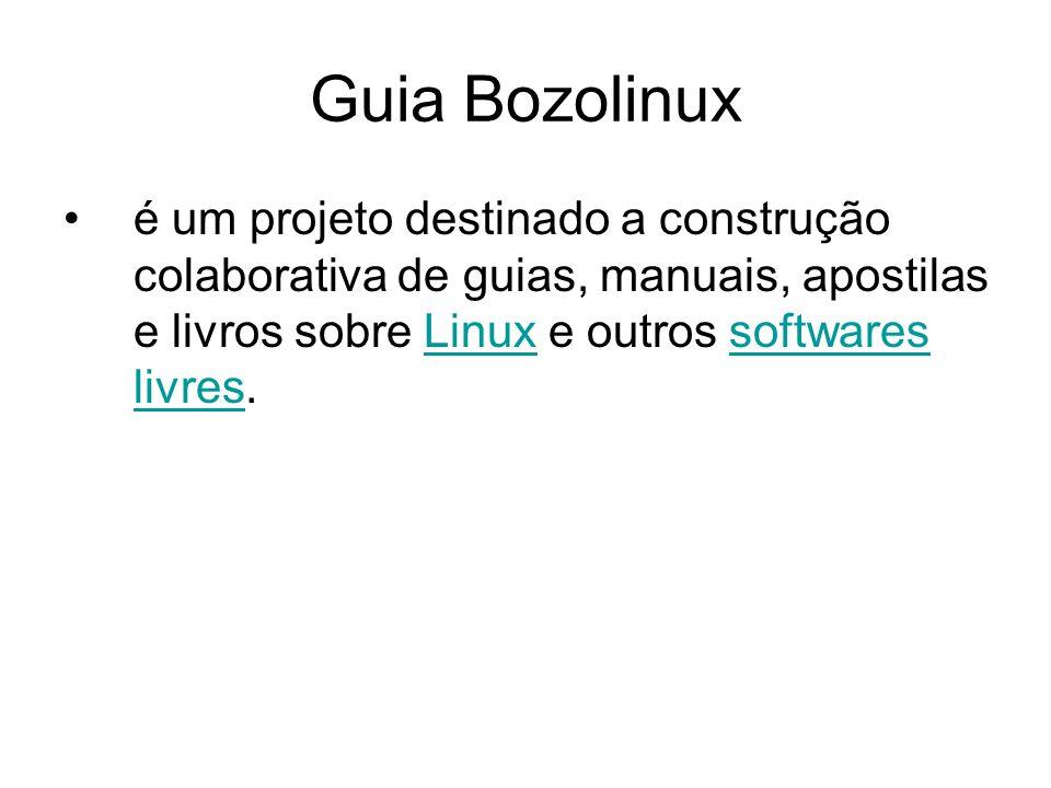 Guia Bozolinux é um projeto destinado a construção colaborativa de guias, manuais, apostilas e livros sobre Linux e outros softwares livres.Linuxsoftwares livres