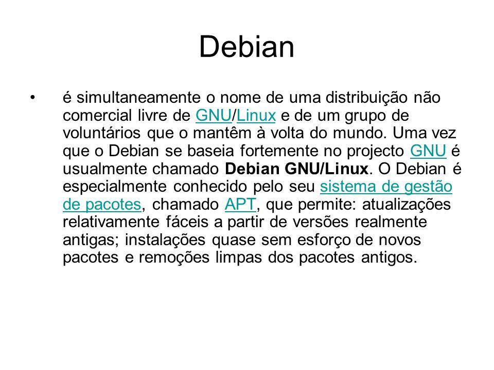Debian é simultaneamente o nome de uma distribuição não comercial livre de GNU/Linux e de um grupo de voluntários que o mantêm à volta do mundo.