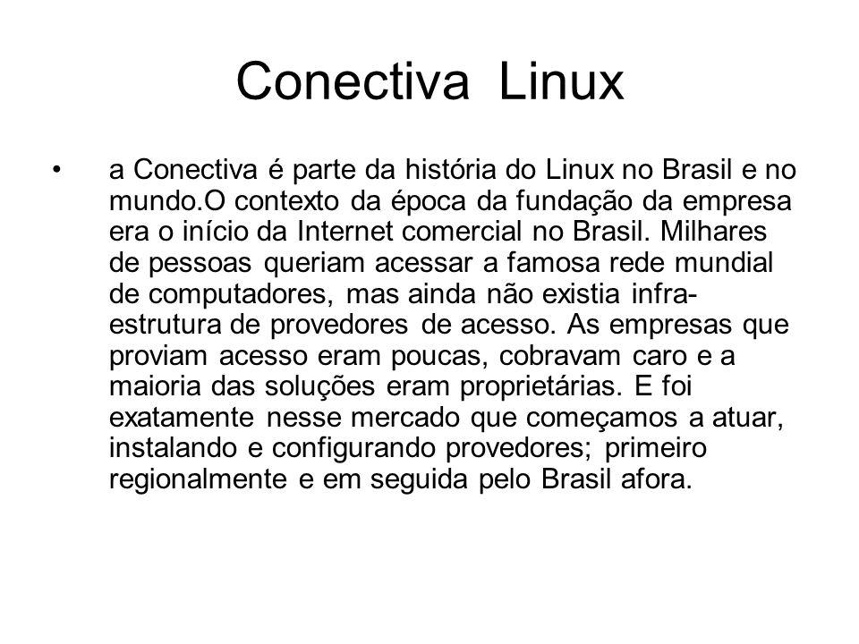 Conectiva Linux a Conectiva é parte da história do Linux no Brasil e no mundo.O contexto da época da fundação da empresa era o início da Internet comercial no Brasil.