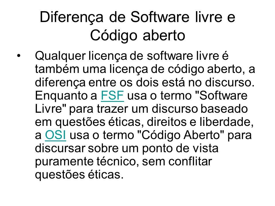 Diferença de Software livre e Código aberto Qualquer licença de software livre é também uma licença de código aberto, a diferença entre os dois está no discurso.