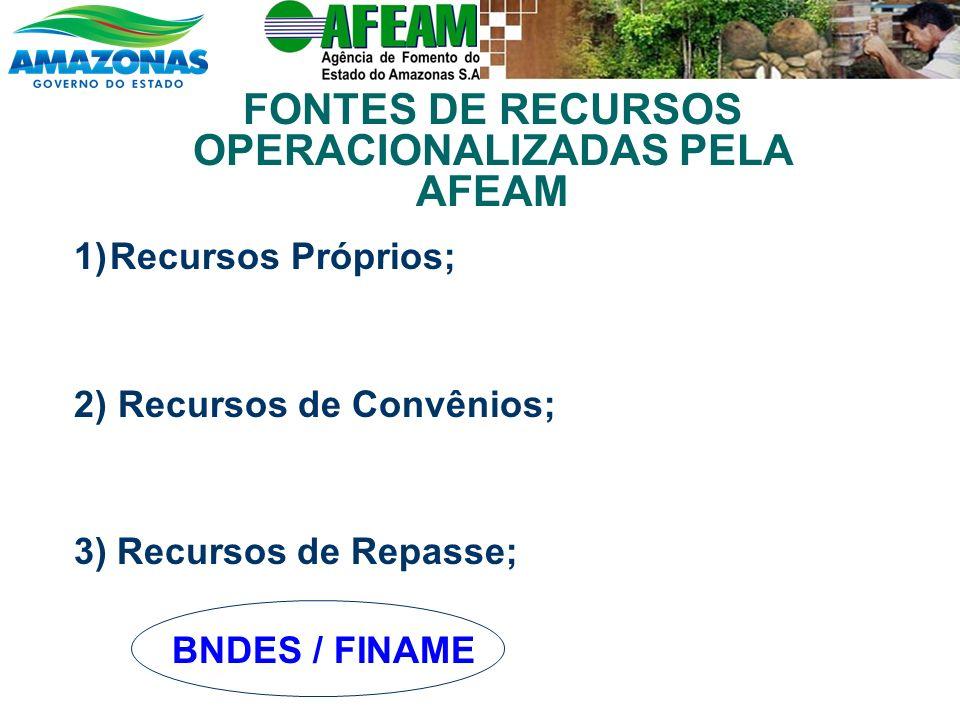 1)Recursos Próprios; 2) Recursos de Convênios; 3) Recursos de Repasse; BNDES / FINAME FONTES DE RECURSOS OPERACIONALIZADAS PELA AFEAM