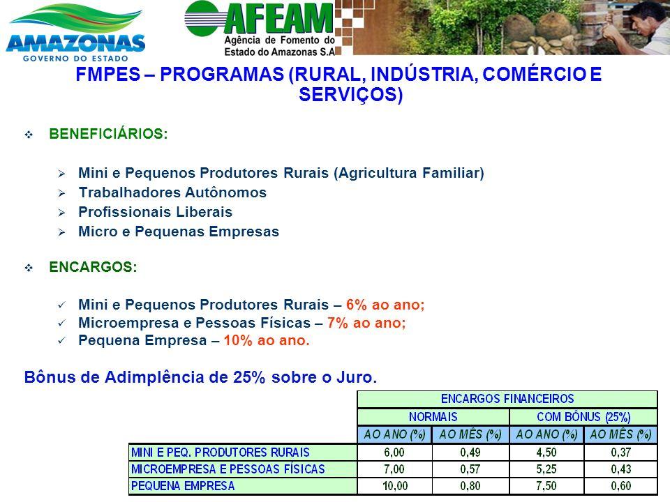 FMPES – PROGRAMAS (RURAL, INDÚSTRIA, COMÉRCIO E SERVIÇOS) BENEFICIÁRIOS: Mini e Pequenos Produtores Rurais (Agricultura Familiar) Trabalhadores Autôno