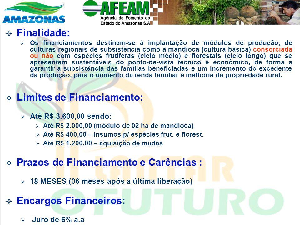 Finalidade: Os financiamentos destinam-se à implantação de módulos de produção, de culturas regionais de subsistência como a mandioca (cultura básica)