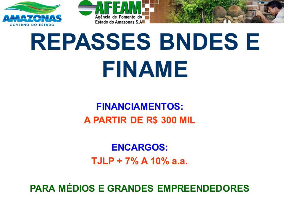 REPASSES BNDES E FINAME FINANCIAMENTOS: A PARTIR DE R$ 300 MIL ENCARGOS: TJLP + 7% A 10% a.a. PARA MÉDIOS E GRANDES EMPREENDEDORES
